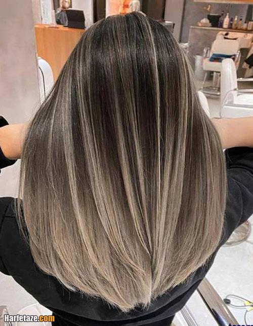موهای تیره با رنگ موی نقره ای سایه دار
