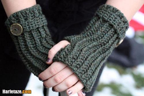 آموزش گام به گام و تصویری بافت 2 مدل دستکش یک انگشتی (بدون انگشت) جلو باز