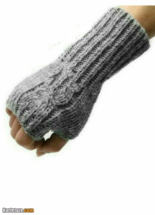 آموزش بافت دستکش یک انگشتی جلو باز طرح پیچ