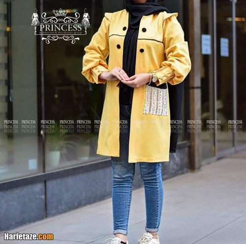 مدل مانتو دخترانه خاکستری و زرد برای عید نوروز 1400