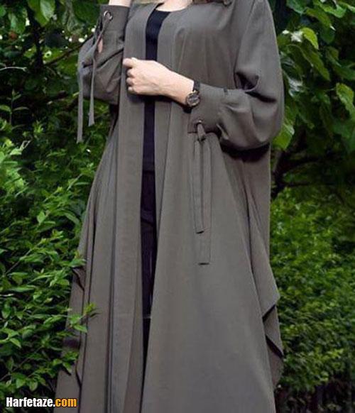 مدل مانتو آستین گت دار خاکستری و طوسی رنگ دانشجویی