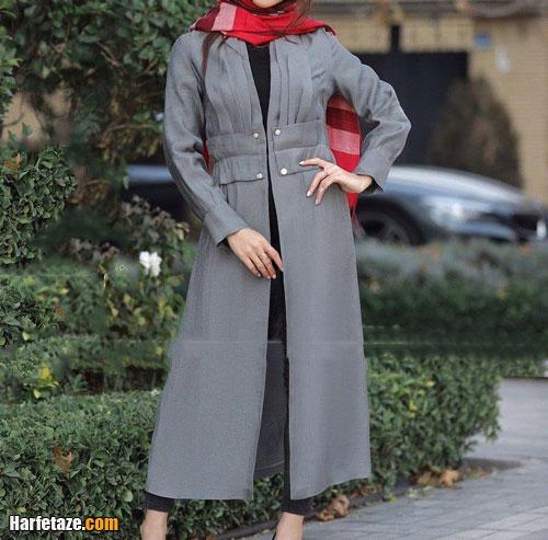 مدل مانتو خاکستری و طوسی دخترانه جدید 2021 , مدل مانتو خاکستری جدید زنانه 1400 , مانتو مـجلسی خاکستری رنگ2021