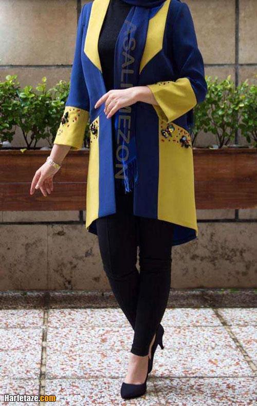 جدیدترین مدل های مانتو زرد و لیمویی مجلسی دو رنگ 1400