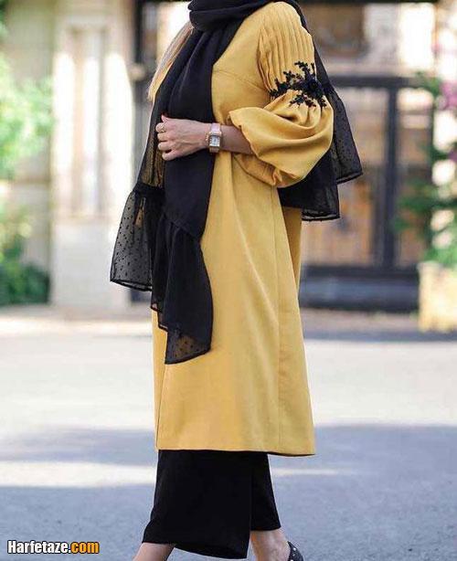 انواع جدیدترین مدل های مانتو زرد اسپرت آستین فانوسی
