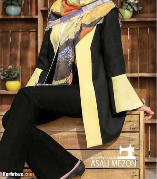 مدل مانتو زرد دخترانه جدید 2021 , مدل مانتو لیمویی جدید زنانه 1400 , مانتو مـجلسی خردلی رنگ2021