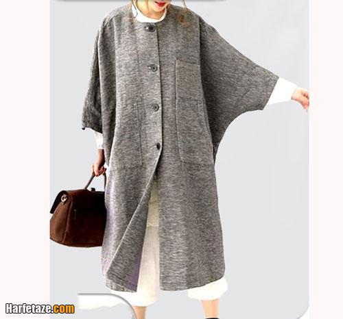 پالتو زمستان ۲۰۲۱ گشاد و بلند خاکستری رنگ