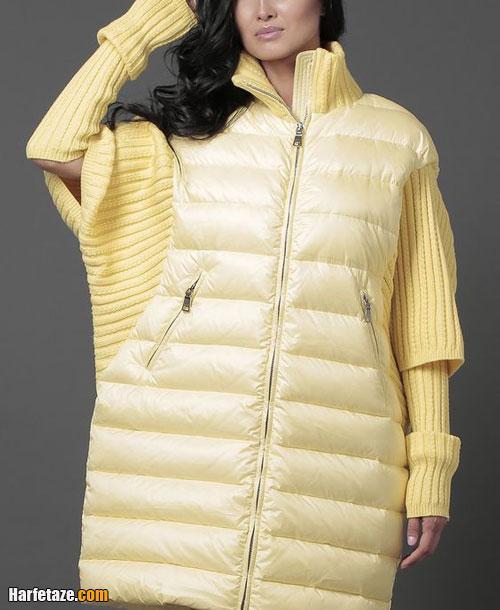 انواع مدلهای جدید پالتو خاکستری و زرد لیمویی زنانه رنگ سال 2021 - 1400