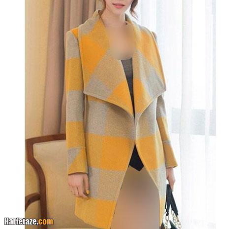 مدل پالتو کوتاه شیک دخترانه لیمویی خاکستری چهارخانه