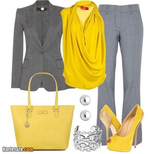 ست لباس خاکستری و زرد حریر کرپ مجلسی دخترانه