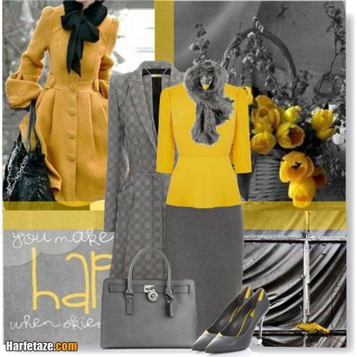 انواع ست لباس خاکستری و زرد اسپرت دخترانه 2021 + راهنمای ست کردن