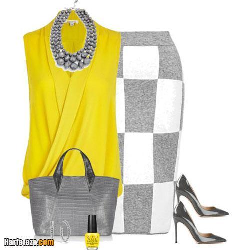 مدل جدید ست لباس خاکستری و زرد لیمویی 2021 - 1400