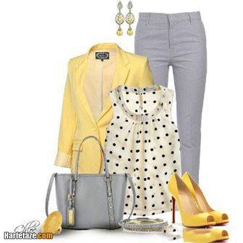 مدلهای جدید ست کت و شلوار خاکستری و زرد