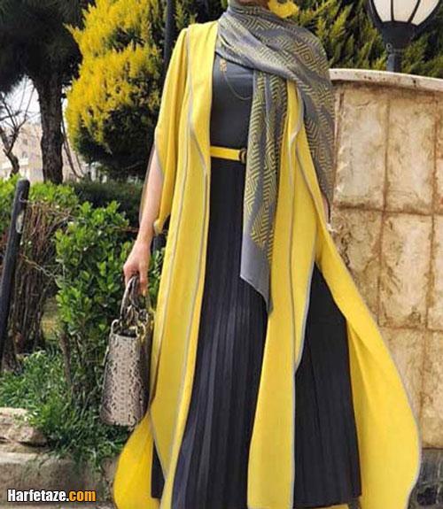 جدیدترین مدل ست لباس مجلسی طوسی و زرد اینستاگرام