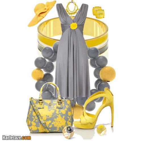 مدل شیک لباس اسپرات خاکستری و زرد گلدار زنانه ۲۰۲۱