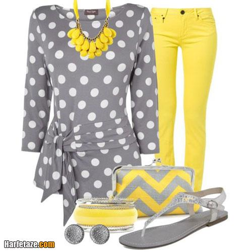مدل جدید لباس خانگی و راحتی زنانه و دخترانه طوسی و زرد