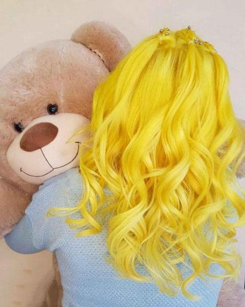 انواع مدل جدید رنگ موی فانتزی زرد 2021 - 1400