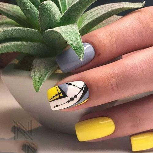 لاک ناخن زرد و خاکستری 2021 , مدل رنگ ناخن خاکستری و زرد 1400 , طرح ناخن فانتزی ۲۰۲۱ , طراحی ناخن جدید ۱۴۰۰