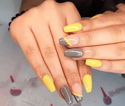 مدل دیزاین ناخن با لاک زرد لیمویی