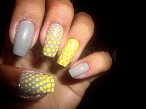 مدلهای جدید آرایش ناخنهای دست ترکیب زرد و خاکستری