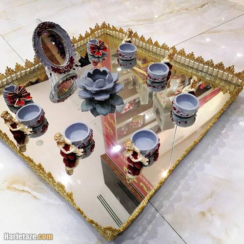 مدل تزیین سفره هفت سین روی سینی شیشه ای
