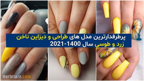 انواع جدیدترین مدل ناخن زرد و طوسی 2021 - 1400 مجلسی و اسپرت + دخترانه و زنانه