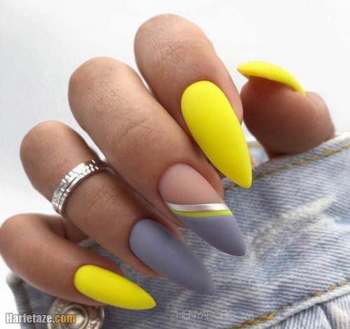 تصاویر طراحی ساده ناخن زرد و طوسی دخترانه