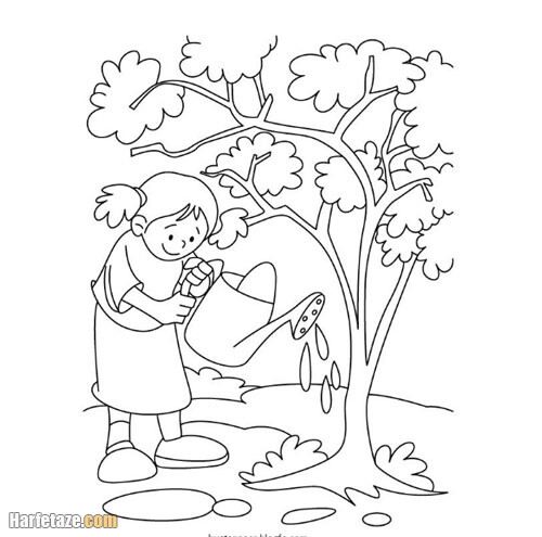 تصایر نقاشی روز درختکاری کودکانه و زیبا برای دانلود