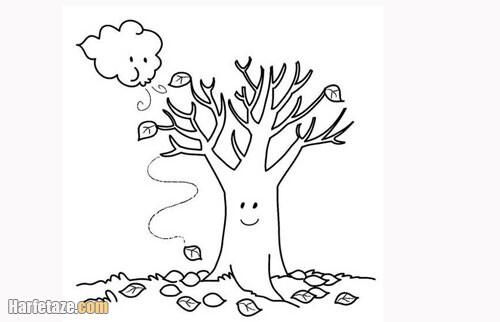 عکس درخت برای رنگ کردن بچه از دو سال تا 6 سال