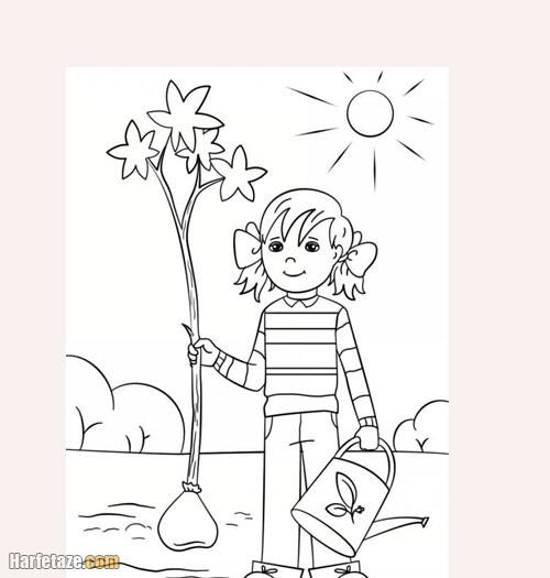 مدل نقاشی روز درختکاری کودکانه و ساده