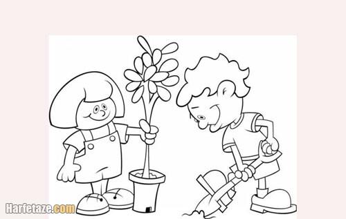 عکسی از نقاشی برای روز درختکاری برای کودکان