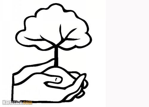نقاشی کودکانه مخصوص روز درختکاری