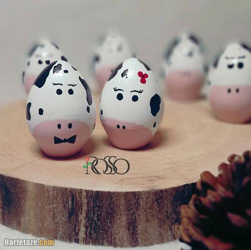 عکس طراحی گاو روی تخم مرغ هفت سین