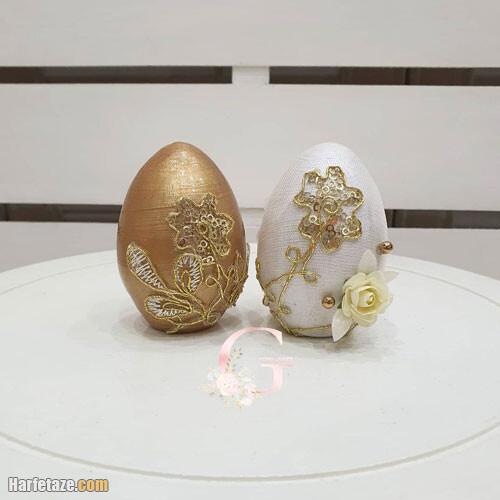 مدل تزیین و رنگ آمیزی تخم مرغ به رنگ طلایی و زرد