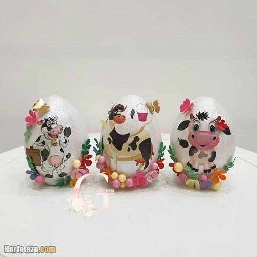 روش رنگ کردن تخم مرغ به شکل گاو