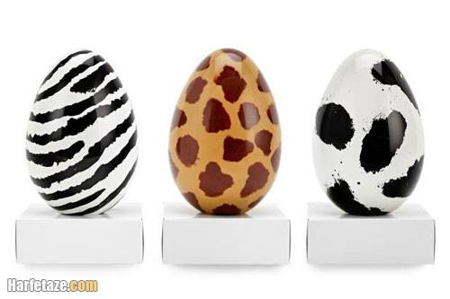 روش نقاشی نقطه ای روی تخم مرغ به شکل حیوانات