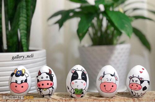 مدل تزیین تخم مرغ به شکل گاو زن و مرد