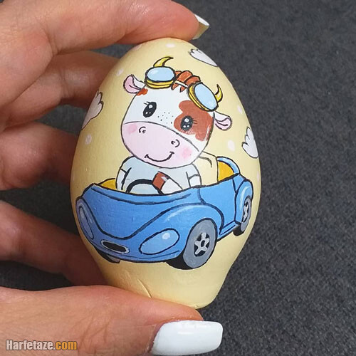 مدل تزیین تخم مرغ به شکل گاو ویژه هفت سین 1400
