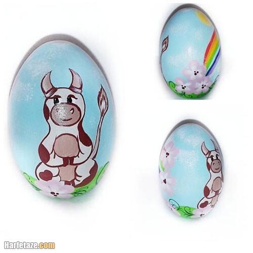 عکس نقاشی گاو روی تخم مرغ