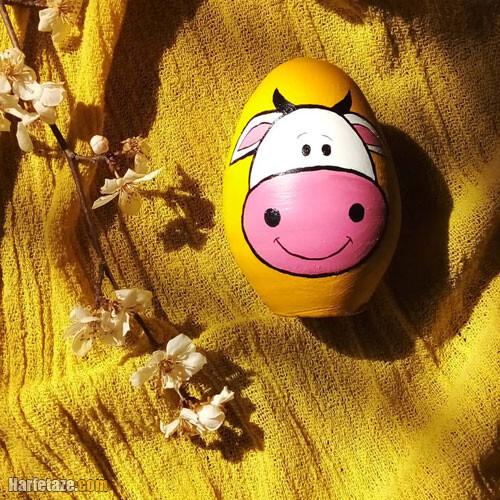 25 مدل رنگ آمیزی و تزیین تخم مرغ به شکل گاو ویژه هفت سین 1400