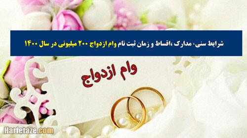 وام ازدواج 200 میلیونی [شرایط سنی+مدارک+اقساط] و زمان ثبت نام در سال 1400