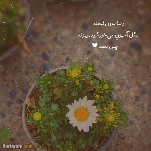 عکس نوشته لبخند زدن