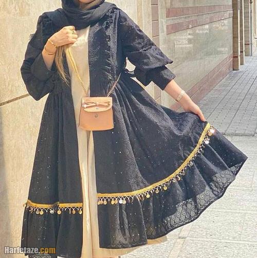 انواع مدل های جدید مانتو مشکی 1400 زنانه برای محرم و مراسم مذهبی شیک و پوشیده و سنگین