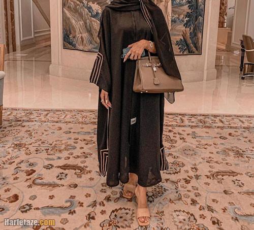 مانتو مشکی گشاد و پوشیده بسیار شیک طرح عربی