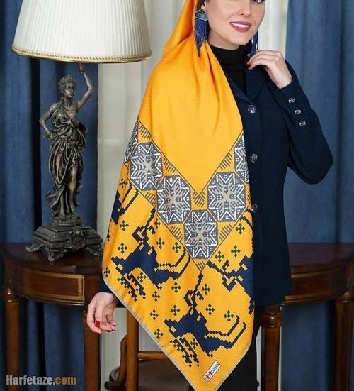 روسری خاکستری زرد 1400