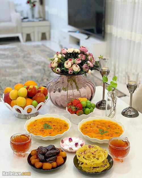 عکس از مدل تزیین سفره شام افطاری