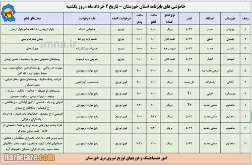 جدول / برنامه کامل قطعی برق 2 خرداد 1400 دیگر شهرها