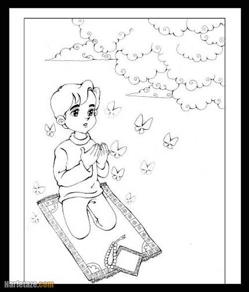 نقاشی عبادت و نماز خواندن در شب قدر