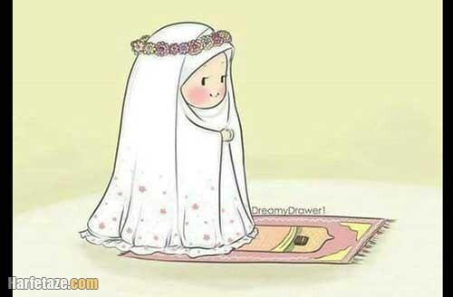 نقاشی شب قدر با عکس دختری در حال قرآن سر گرفتن