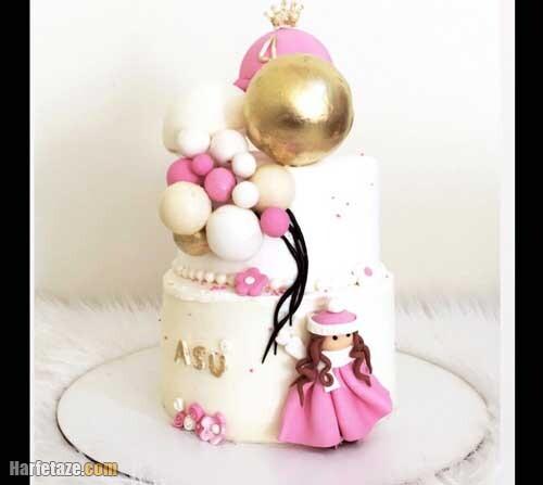 کیک روز دختر با روکش فوندانت