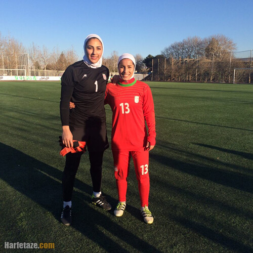 مریم یکتایی دروازه بان فوتبال زنان و همسرش